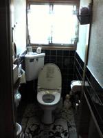 黒いタイルで重苦しいトイレ